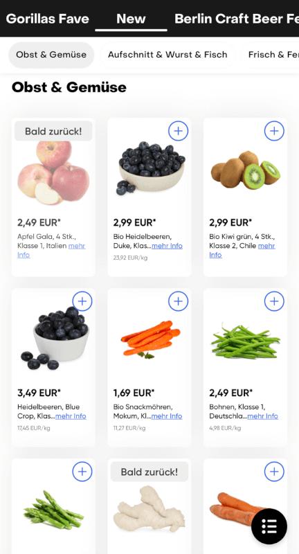 Obst und Gemüse Auswahl von Gorillas Lieferdienst